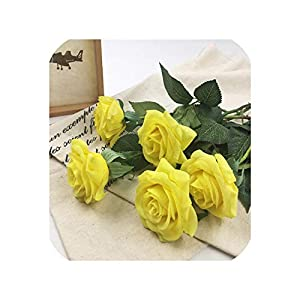 loveinfinite 20pcs/Set Rose Flowers Bouquet Royal Rose Upscale Artificial Flowers Latex Real Touch Rose Flowers Home Wedding Decoration,A Bright Yellow 38