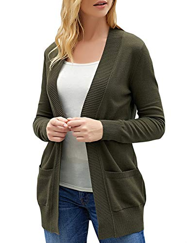 luvamia Women's Long Sleeve Open Front Sweater Cardigan Pocket Knitted Outerwear Green Size Medium (fits US 8-US 10) ()