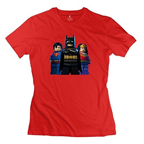 Women's Batman Superman Superwoman Lego Personalized Regular Red T-Shirt By