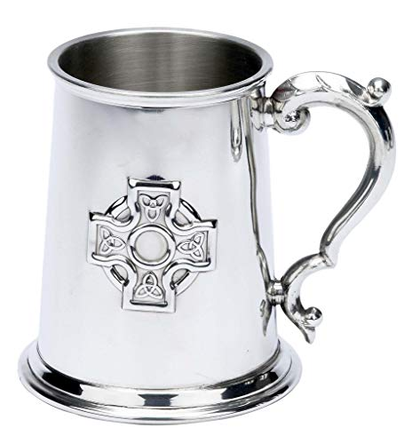 Tankard 1 Pint English Pewter Stamped Celtic Cross Design
