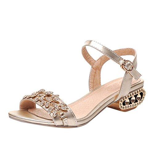 Mee Shoes Women's Fashion Buckle Rhinestone Chunky Heel Sandals Shoes golden ycztF2r