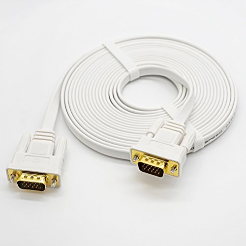 DTECH 50 Feet VGA Cable Male to Male Slim Flexible Wire for Computer Monitor Projector (White) by DTECH (Image #5)