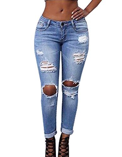 (Burvogue Women's Blue Denim Stretch Jeans Skinny Distressed Pants  Picture M(US SIZE 4-6) )