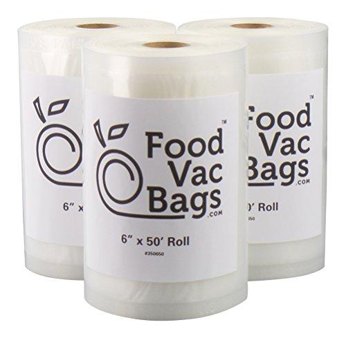 """3 - 6""""x50' FoodVacBags Vacuum Sealer Bag Rolls compatible wi"""