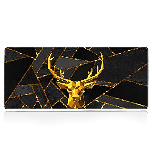 Large Gaming Mouse Pad with Stitched Edge, Gold Elk Marble Desk Pad XXL Mouse Pad, Office Desk Mat Non-Slip Waterproof Rubber Base Extended Mouse Mat Keyboard Pad -31.5x11.8 inches