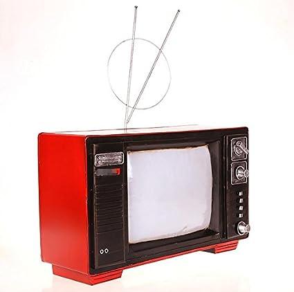 LD&P De estilo chino de hierro retro blanco y negro a la antigua TV modelo creativo Decoración semi-manual de la colección semi-mecánica de artesanía de la casa decoración de la barra,red,38*25*24CM: Amazon.es: