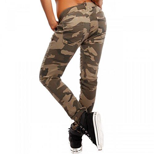 Damen Camouflage Boyfriendhose Jogger Style Cargohose Freizeithose camouflage