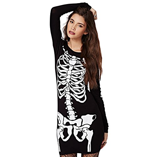 RieKet Halloween Punk Skeleton Skull Stretch Slim Casual Women Dress (L(US 6-8), Black) ()