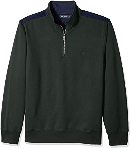 Nautica Men's 1/4 Zip Pieced Fleece Sweatshirt, kelp seas X-Large