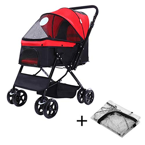 - HHGO Dog Stroller for Small Medium Dogs with rain Cover and seat Belt, 4-Wheel Foldable pet Pushchair pram Puppy Buggy, Lightweight Travel Carrier, handrail Reversible cat Stroller