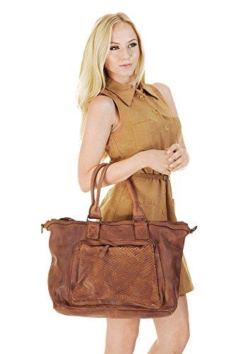 SAMANTHA LOOK Shopper ECHT LEDER braun Damen Groß 017849