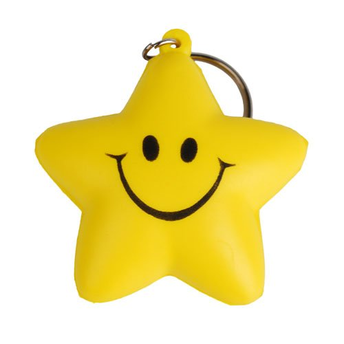 LoveInTheBox Smiling Five-pointed Star Style Keychain with Soft Plastic Material Pendants Ornament For Handbags Or Schoole Pack Christmas Thank You Gift Cool Key Holders Lanyards Fobs