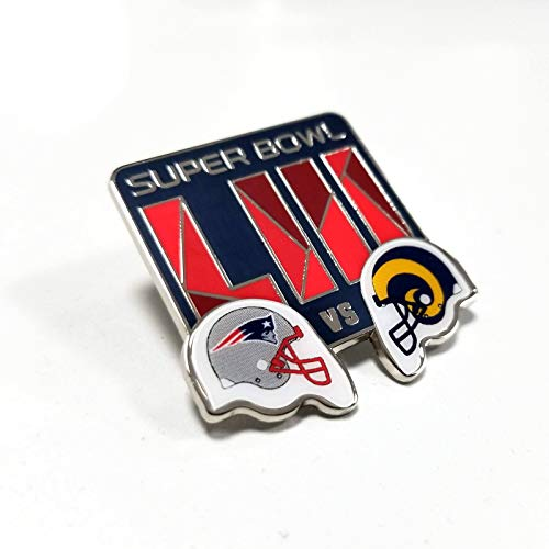Football 2019 NFL Super Bowl 53 LIII Dueling Los Angeles Rams New England Patriots Lapel Pin