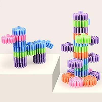 HAPPYMATY Gears Building Blocks Puzzles Sets 18pcs Interlocking Plastic Building Toys STEM Educational Toys for 3 Years and up Girls Boys: Toys & Games