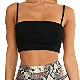 NUWFOR Women Tank Top Clothes Sexy Summer Crop Top Sleeveless Cotton Vest Tank Clothing(Black,US XL Bust:33.8-38.6'')