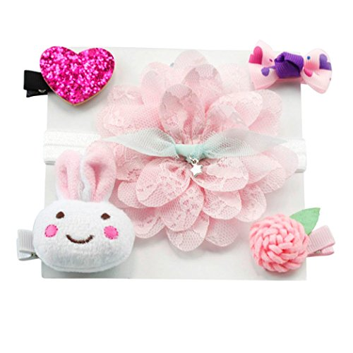 Amanod 2018 hot sale 5Pc Infant Hairpin Girl Bow Barrettes Hair Clip Headband Set from Amanod