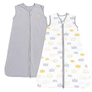 TILLYOU X-Large XL Breathable Cotton Baby Wearable Blanket with 2-Way Zipper, Super Soft Lightweight 2-Pack Sleeveless Sleep Bag Sack Clothes for Boys, Fits Toddlers Age 18-24 Months, Gray Crown
