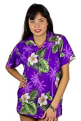 V.H.O Funky Hawaiian Shirt Blouse Women Shortsleeve Frontpocket Hawaiian-Print Leaves Flowers Allover