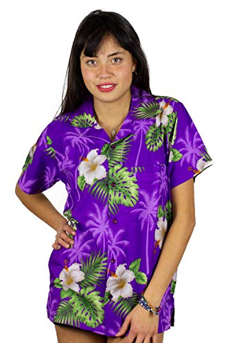 Funky Hawaiian Blouse Shirt, Small Flower, Purple,