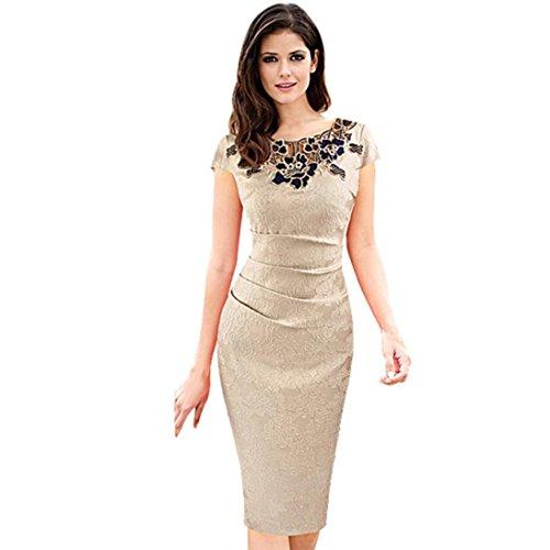 [DaySeventh Women Embroidered Embroidery Vintage Business Party Dresses (M, Khaki)] (Elegant Khaki)