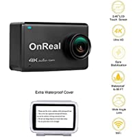 OnReal 4K Action Cam Frameless 2.45 inch Touch screen Full HD WiFi Underwater Camera with 170 Wide Angle Lens and 2.4G Hz Remote Control Bracelet
