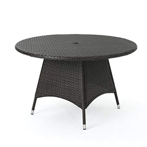Dining Outdoor - Christopher Knight Home 296768 Kanza Outdoor Brown Wicker Round Dining Table