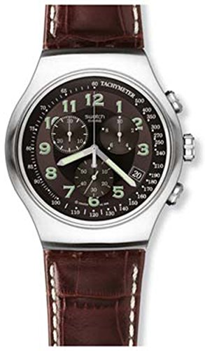 swatch-mens-yos413-quartz-stainless-steel-leather-bands-brown-dial-chronograph-luminous-watch