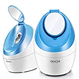 Facial Steamer Nano Ionic Hot Steam For Face Personal Sauna Spa Quality Moisturizing Face Sprayer Open Pores Blackheads Removal Clear Mini Home Humidifier with Makeup Mirror (Blue)