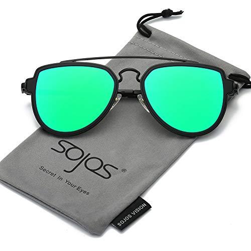 c2c47e58aa Galleon - SOJOS Fashion Polarized Aviator Sunglasses For Men Women Mirrored  Lens SJ1051 With Black Frame Green Mirrored Polarized Lens