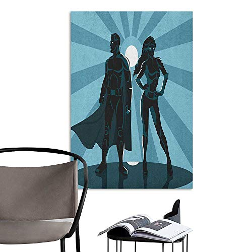 Jaydevn Wall Paintings self-Adhesive Superhero Man and Woman Superheroes Costume with Masks Capes Night Protector in Moonlight Blue Teal Kitchen Room Wall W8 x H10]()