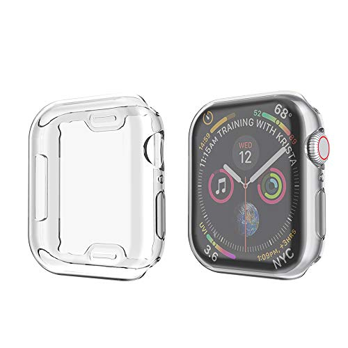 amBand Compatible for Apple Watch Series 4 Screen Protector 44mm, Full Cover TPU Case Bumper Compatible for iWatch Series 4 Clear