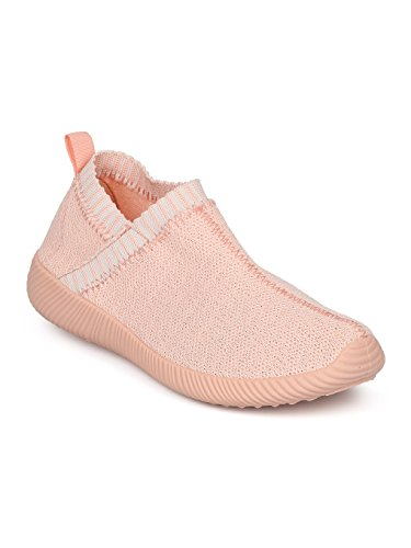 er - Knitted Laceless Sneaker - Casual Gym Athletic Running Work Out Shoe - HC96 by Qupid Collection - Pink (Size: 8.0) (Athletic Shoe Collection)
