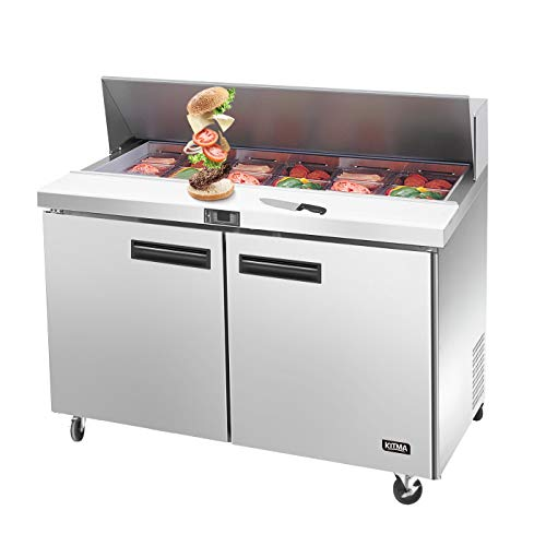 (Sandwich Prep Table Two Door Refrigerator, Kitma 48 Inch Commercial Salad Prep Table Refrigerated with 12)