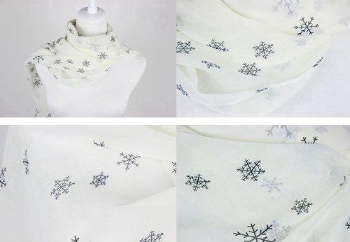 New Beautiful and Fashion Printd Lady Women Girls Chiffon Scarf (White Snowflake)