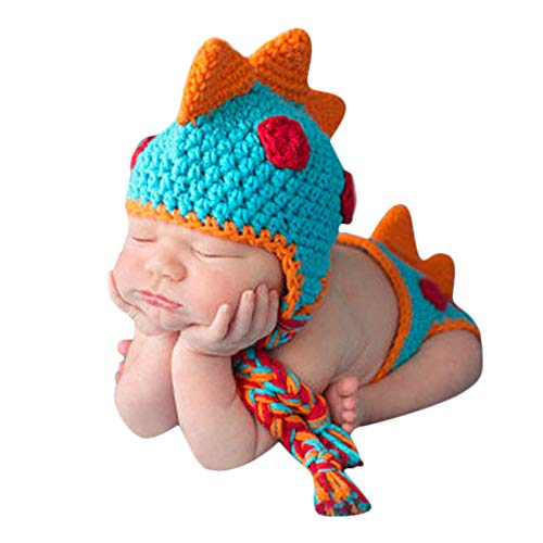 Tronet Baby Hat,Baby Boy Dinosaur Outfit Photography Props Knit Infant Infant Accessorie Crochet Knit Hat (Yellow, Age:1-3 Years) (Blue)