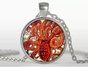 Steampunk Octopus, Octopus Necklace, Silver Plated Pendant, Vintage Jewelry, Black, White, Red