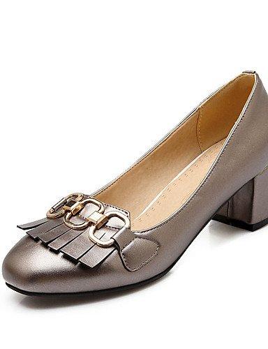 GGX Damen Schuhe Quadrat Dick mit der täglichen Arbeit der vier Jahreszeiten bequem hochhackige Schuhe Quasten