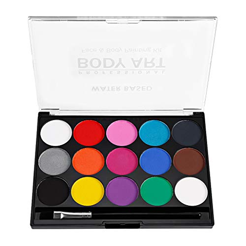 Baoblaze Water Based Face Paint Palette15 Colors Non-toxic Kids Safe Face Body Painting -