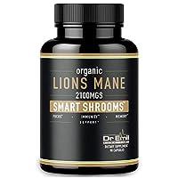 Organic Lions Mane Mushroom Capsules – Maximum Dosage + Absorption Enhancer – Nootropic Brain Supplement and Immune Support (100% Pure Lions Mane Extract)