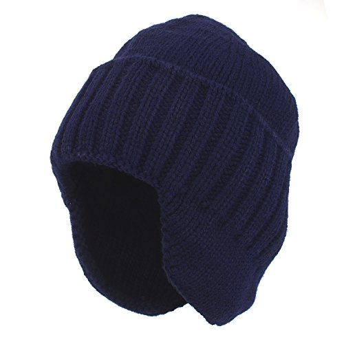Flammi Men Warm Knit Earflap Beanie Hat Cuffed Beanie (Navy Blue)