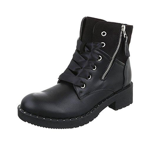 Ital-Design Schnürstiefeletten Damenschuhe Klassischer Stiefel Blockabsatz Schnürer Reißverschluss Stiefeletten Schwarz
