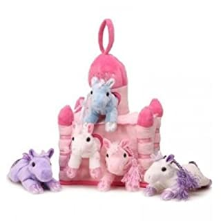 "Unipak 12"" Pink Plush Horse Castle - 5 Stuffed Animal Horses in Pink Castle Carrying Case"