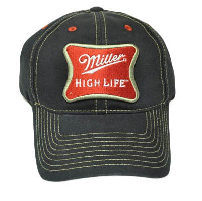 MILLER BEER HIGH LIFE BLACK RED PATCH VELCRO HAT - High Cap Life Miller