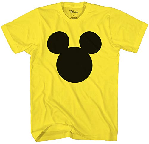 (Disney Mickey Mouse Head Silhouette Men's Adult Graphic Tee T-Shirt (Small, Yellow) )