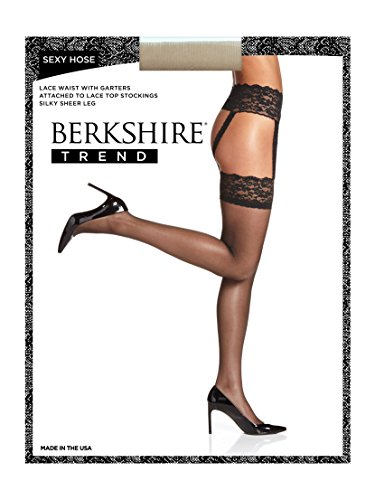 Berkshire Women's Plus-Size Sexyhose Lace Garter with Stocking - Sandalfoot 4909, Nude, Queen ()