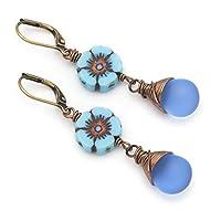 Blue Flowers Czech Glass Wire-wrapped Drop Antique Bronze Lever-back Earrings