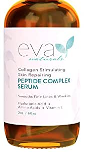 Peptide Complex Serum by Eva Naturals (2 oz) - Best Anti-Aging Face Serum Reduces Wrinkles and Boosts Collagen - Heals and Repairs Skin while Improving Tone and Texture - Hyaluronic Acid & Vitamin E