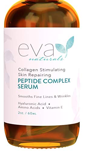Peptide Complex Serum by Eva Naturals (2 oz) - Best Anti-Aging Face Serum Reduces Wrinkles and Boosts Collagen - Heals and Repairs Skin while Improving Tone and Texture - Hyaluronic - Antioxidant Therapy Eye