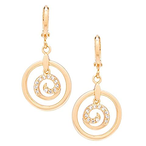 Romantic Time Galaxy Vortex Geometrical Diamond Accented 18k Rose Gold Plated Spiral Round French Dangle Earrings