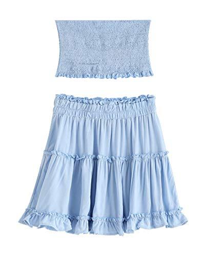 - ZAFUL Women Two Piece Outfit Smocked Ruffles Bandeau Top and Skirt Set High Waist A line Mini Dress(Light Blue,S)